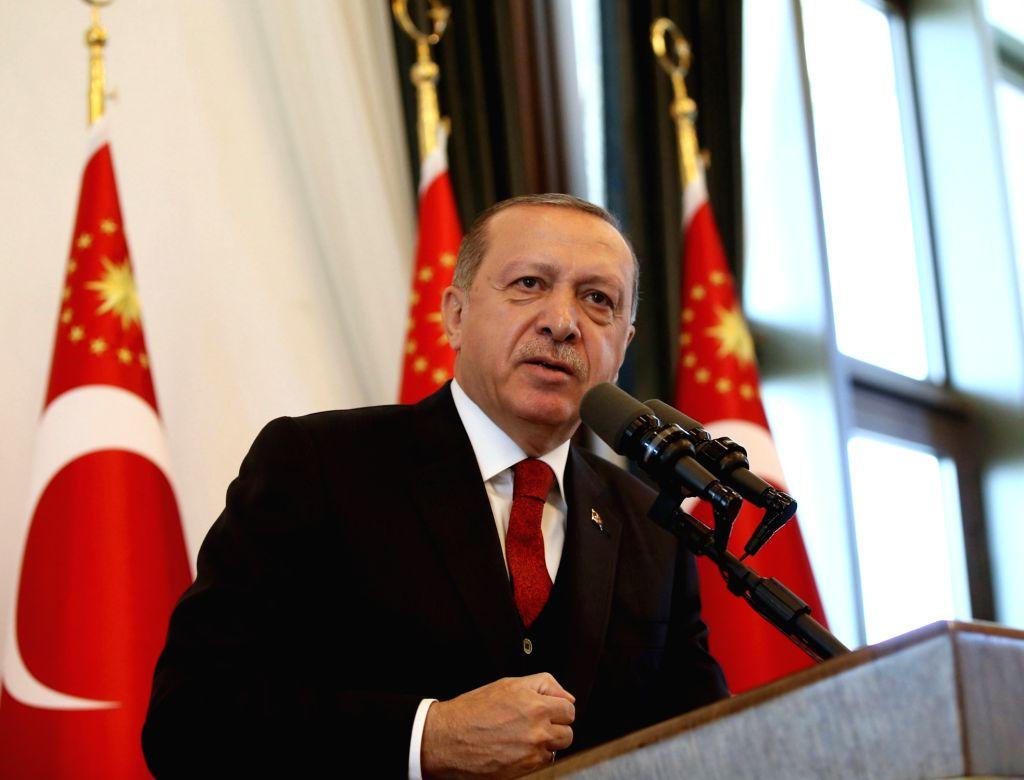 ANKARA, Oct. 12, 2017 - Turkish President Recep Tayyip Erdogan gives a speech during a provincial governors' meeting in Ankara, Turkey, on Oct. 12, 2017. Erdogan on Thursday blasted the U.S. for ...