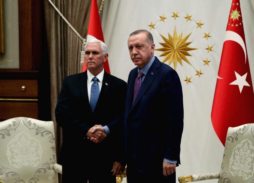 ANKARA, Oct. 17, 2019 - Turkish President Recep Tayyip Erdogan (R) shakes hands with U.S. Vice President Mike Pence in Ankara, Turkey, on Oct. 17, 2019. The United States and Turkey on Thursday ...
