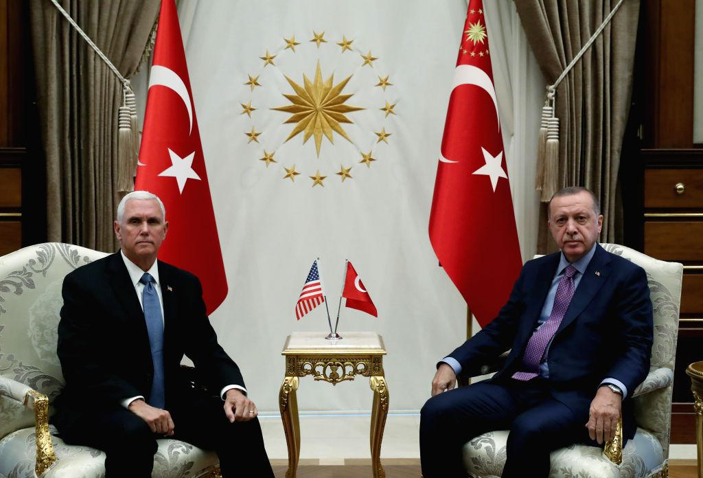 ANKARA, Oct. 17, 2019 - Turkish President Recep Tayyip Erdogan (R) meets with U.S. Vice President Mike Pence in Ankara, Turkey, on Oct. 17, 2019. The United States and Turkey on Thursday reached an ...