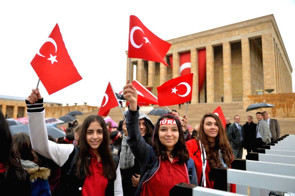 ANKARA, Oct. 29, 2016 - Turkish citizens attend the ceremony held at mausoleum of Mustafa Kemal Ataturk during the the Republic Day celebration in Ankara, Turkey on Oct. 29, 2016. Turkey celebrated ...