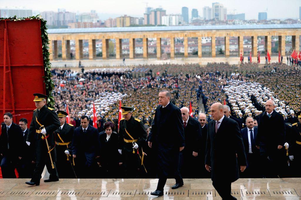 ANKARA, Oct. 29, 2016 - Turkish President Recep Erdogan(2nd R) attends a ceremony held at mausoleum of Mustafa Kemal Ataturk during the Republic Day celebration in Ankara, Turkey on Oct. 29, 2016. ...