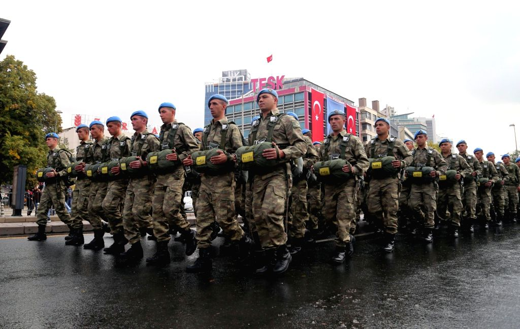 ANKARA, Oct. 29, 2016 - Turkish soldiers attend the military parade celebrating the Republic Day in Ankara, Turkey on Oct. 29, 2016. Turkey celebrated the 93rd anniversary of the founding of Republic ...