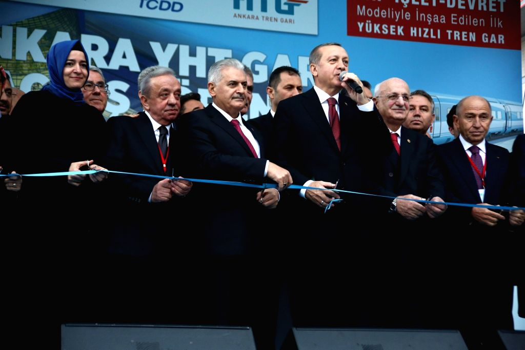 ANKARA, Oct. 30, 2016 - Turkish President Recep Tayyip Erdogan (3rd R, front) and Prime Minister Binali Yildirim (3rd L, front)  attend the opening ceremony of the new high speed train station in ... - Binali Yildirim