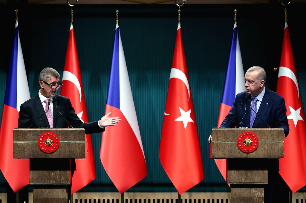 ANKARA, Sept. 3, 2019 - Turkish President Recep Tayyip Erdogan (R) and visiting Czech Prime Minister Andrej Babis attend a joint press conference in Ankara, Turkey, on Sept. 3, 2019. Turkish ... - Andrej Babis