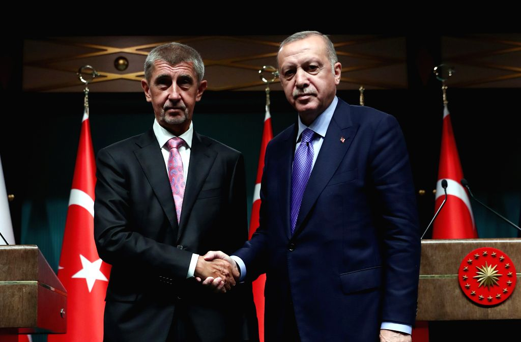 ANKARA, Sept. 3, 2019 - Turkish President Recep Tayyip Erdogan (R) shakes hands with visiting Czech Prime Minister Andrej Babis at a joint press conference in Ankara, Turkey, on Sept. 3, 2019. ... - Andrej Babis