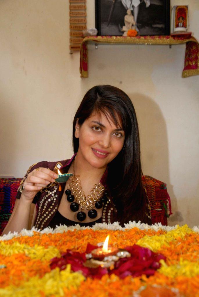 Ankita Shorey, Femina Miss India celebrates Diwali, The Hindu festival of lights at her residence in Mumbai on Oct 29, 2016.