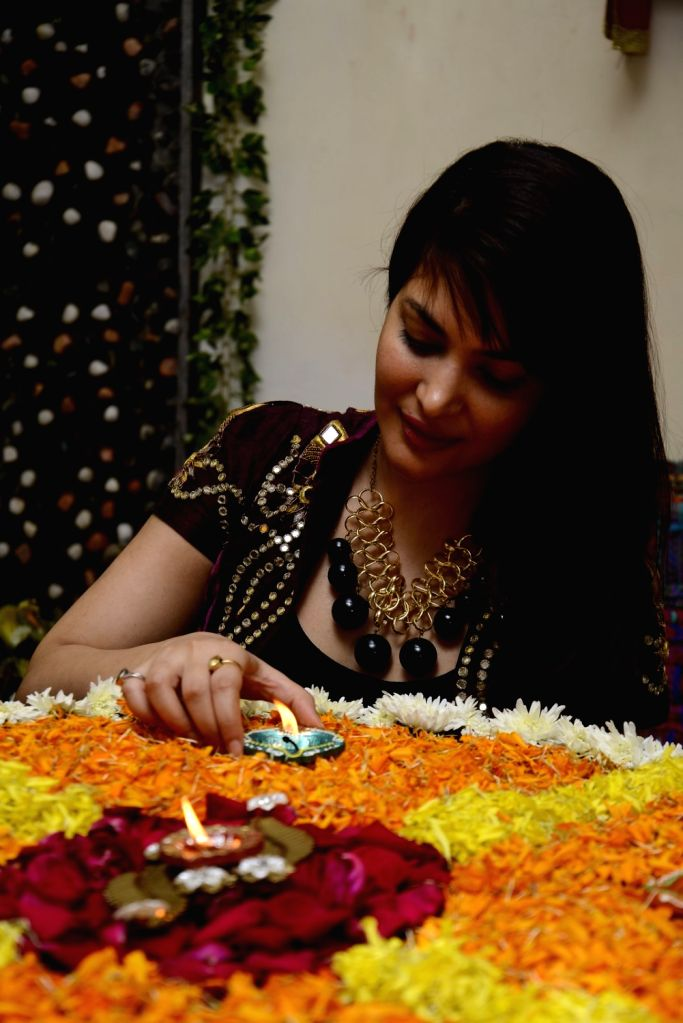 Ankita Shorey, Femina Miss India International 2011 and model celebrates Diwali, The Hindu festival of lights in Mumbai on Oct. 29, 2016.