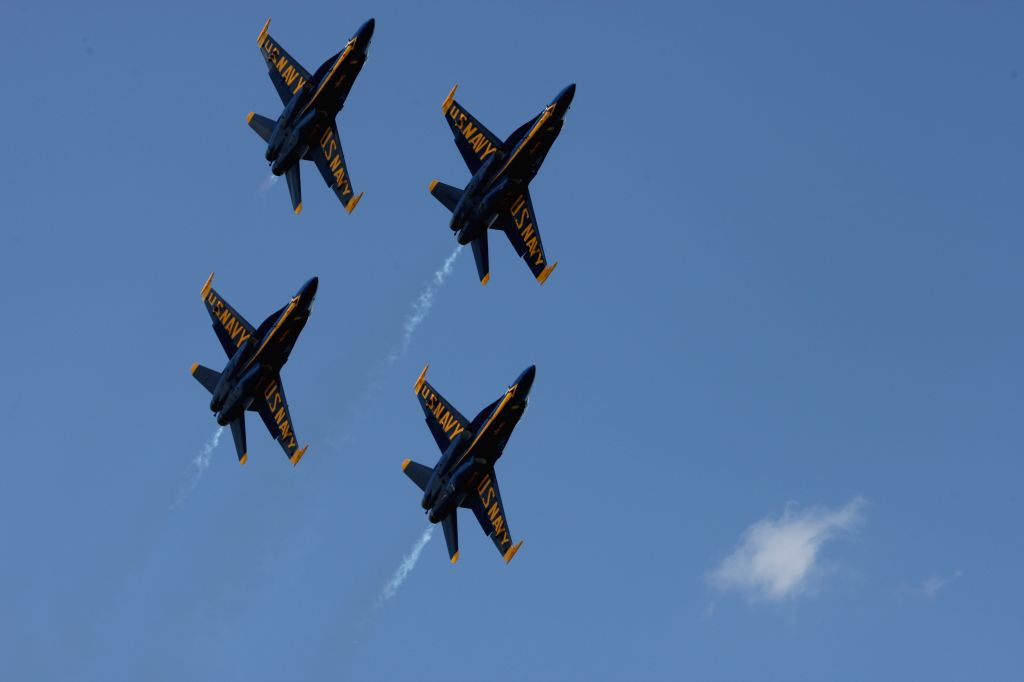 ANNAPOLIS, May 23, 2018 - U.S. Navy's Blue Angels fly over the U.S. Naval Academy (USNA) in Annapolis, Maryland, the United States, on May 23, 2018. The Blue Angels, a six-jet Navy team flying F/A-18 ...