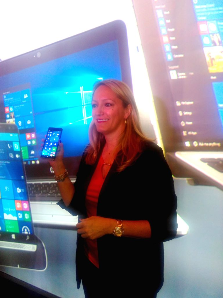 Anneliese Olson, vice president of personal systems business, HP Asia Pacific and Japan, unveiling Elite x3 at an event in Macau on April 7.