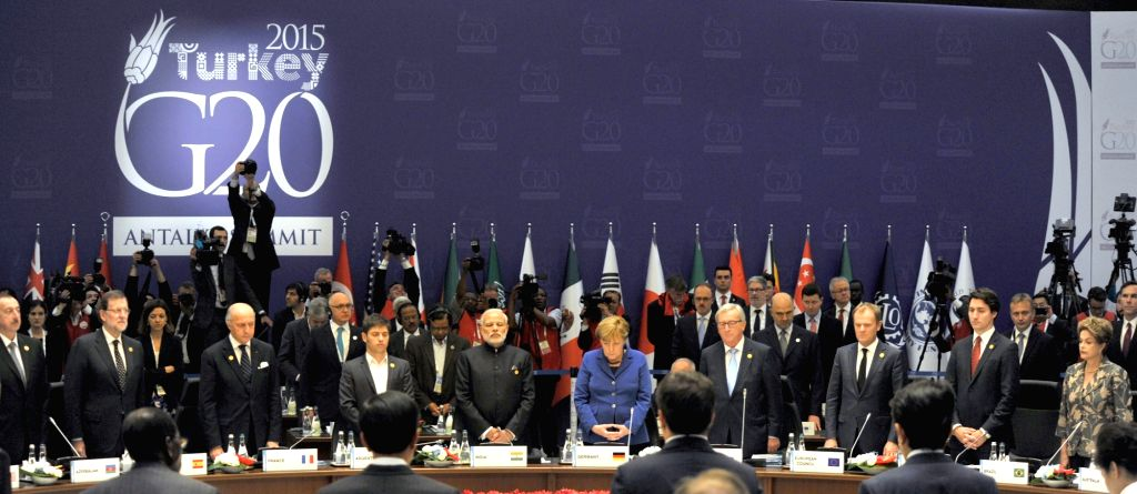 :Antalya: Prime Minister Narendra Modi at the G20 Summit working session on inclusive growth in Antalya, Turkey on Nov 15, 2015. (Photo: IANS/PIB). - Narendra Modi
