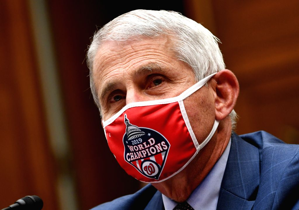 Anthony Fauci, director of the U.S. National Institute of Allergy and Infectious Diseases, testifies at a House subcommittee hearing in Washington, D.C., the ...