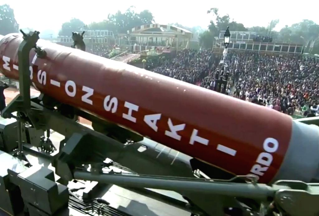 Anti-Satellite Weapons (ASAT) 'Mission Shakti' rolls down the Rajpath during the 71st Republic Day parade, in New Delhi on Jan 26, 2020.