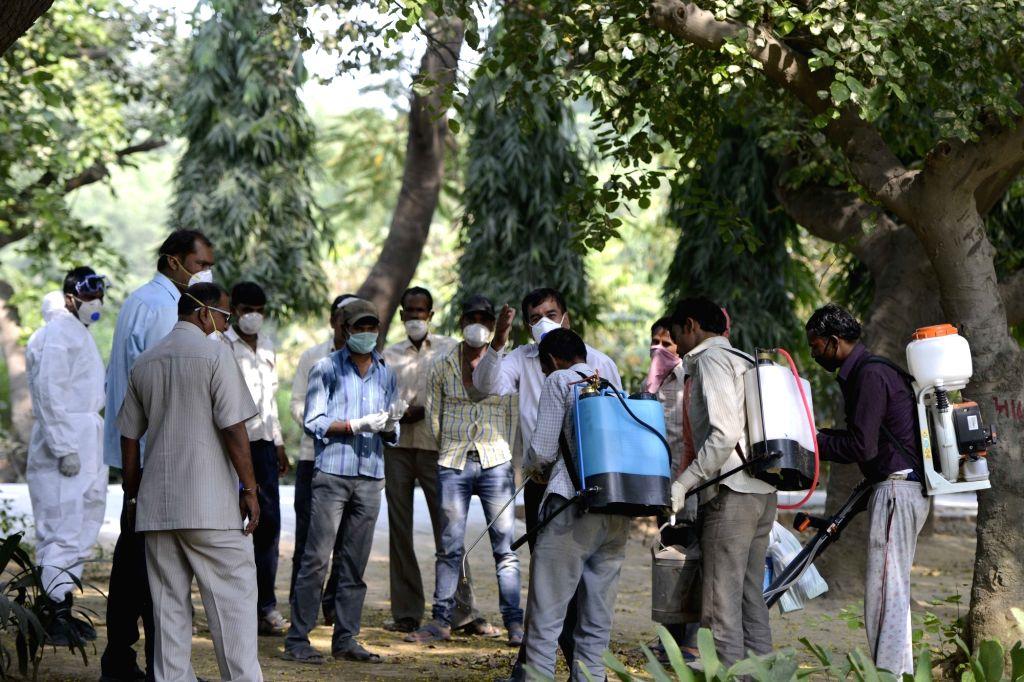 Anti-virus drive underway at the now shut Deer Park after ten more birds died due to bird flu in New Delhi on Oct 23, 2016.