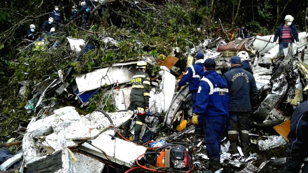 ANTIOQUIA, Nov. 29, 2016 - Image provided by Noticias Telemedellin shows rescuers inspecting the site of the crashed plane carrying the Brazilian soccer team Chapecoense, in La Ceja municipality, ...