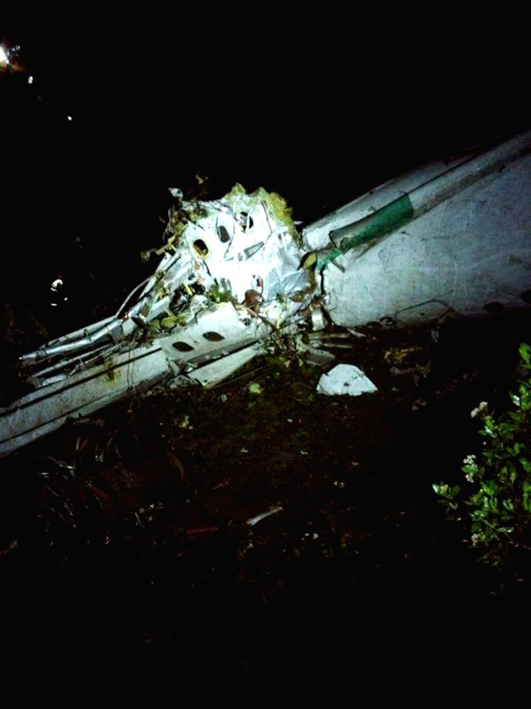 ANTIOQUIA, Nov. 29, 2016 - Photo taken on Nov. 28, 2016 provided by Noticias Telemedellin, shows the debris of the plane carrying the Brazilian football team Chapecoense, that crashed in a ...