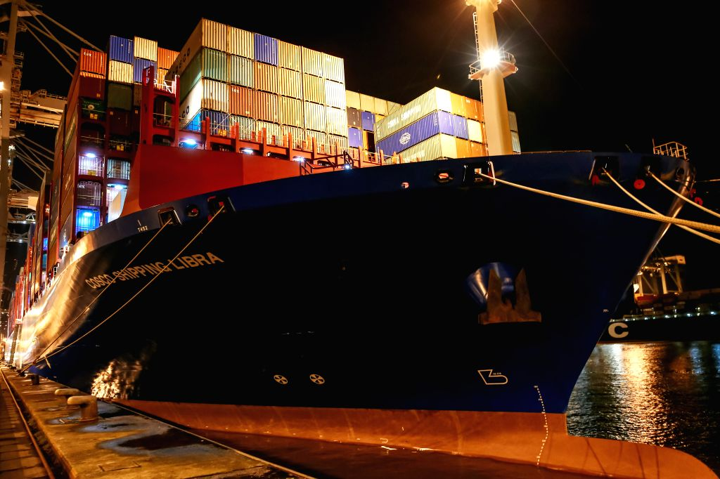 ANTWERP, Feb. 6, 2019 - Photo taken on Feb. 5, 2019 shows COSCO SHIPPING LIBRA at the Port of Antwerp in Belgium. China's 20,000 plus twenty-foot equivalent unit (TEU) container vessel COSCO SHIPPING ...