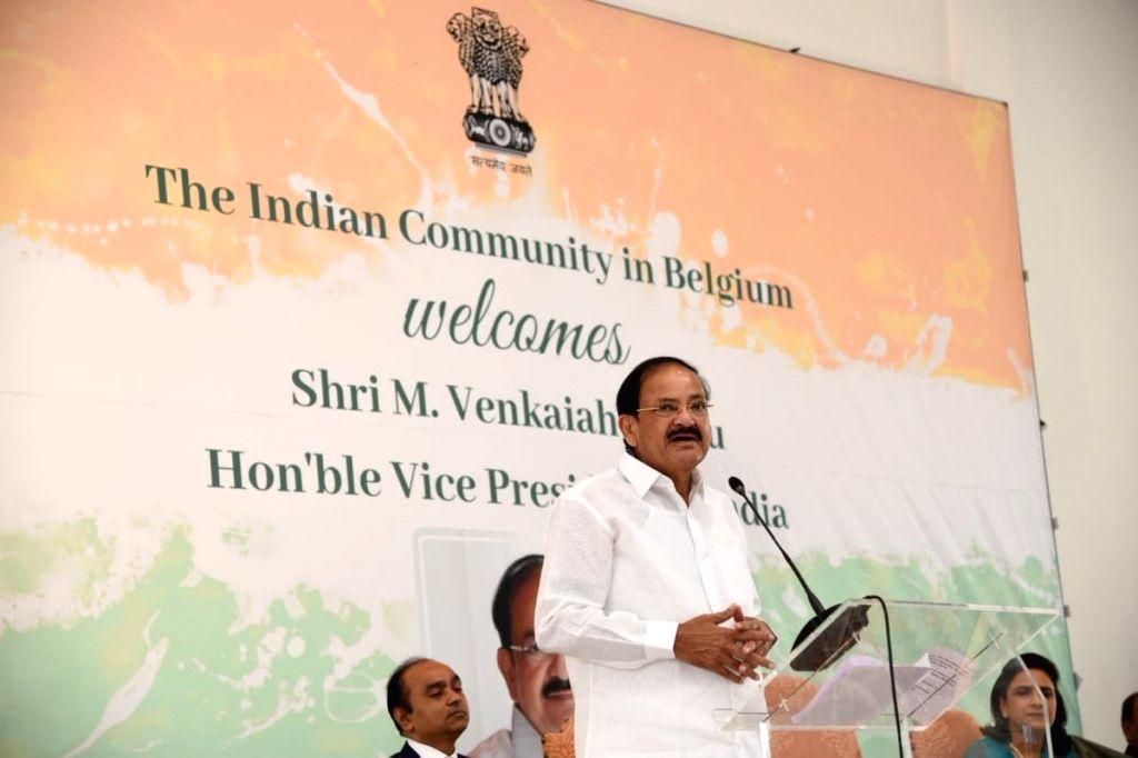 :Antwerp: Vice President M. Venkaiah Naidu addresses the Indian community at the Jain Cultural Centre in Antwerp, Belgium on Oct 20, 2018. (Photo: IANS/MEA).