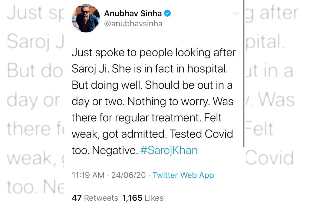 Anubhav Sinha: Saroj Khan is doing well, nothing to worry. - Anubhav Sinha and Saroj Khan