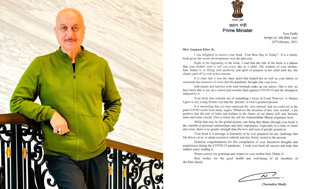 Anupam Kher 'honoured and humbled' on receiving PM Modi's signed letter. - Anupam Kher