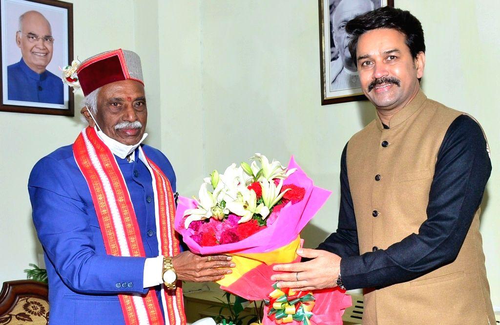 Anurag Thakur called on Governor Bandaru Dattatraya at Raj Bhavan,on Sunday 07th March, 2021.