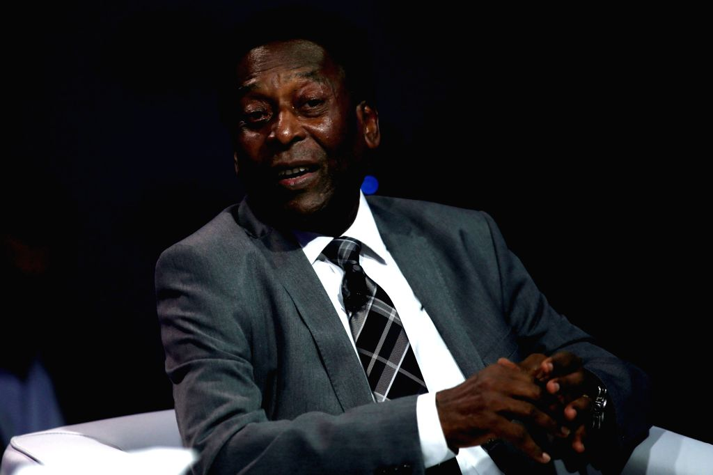 """AO PAULO, March 15, 2018 (Xinhua) -- Former Brazilian soccer player Edson Arantes do Nascimento """"Pele"""" takes part in a session of the World Economic Forum for Latin America, in Sao Paulo, Brazil, on March 14, 2018. (Xinhua/Rahel Patrasso/IANS)"""