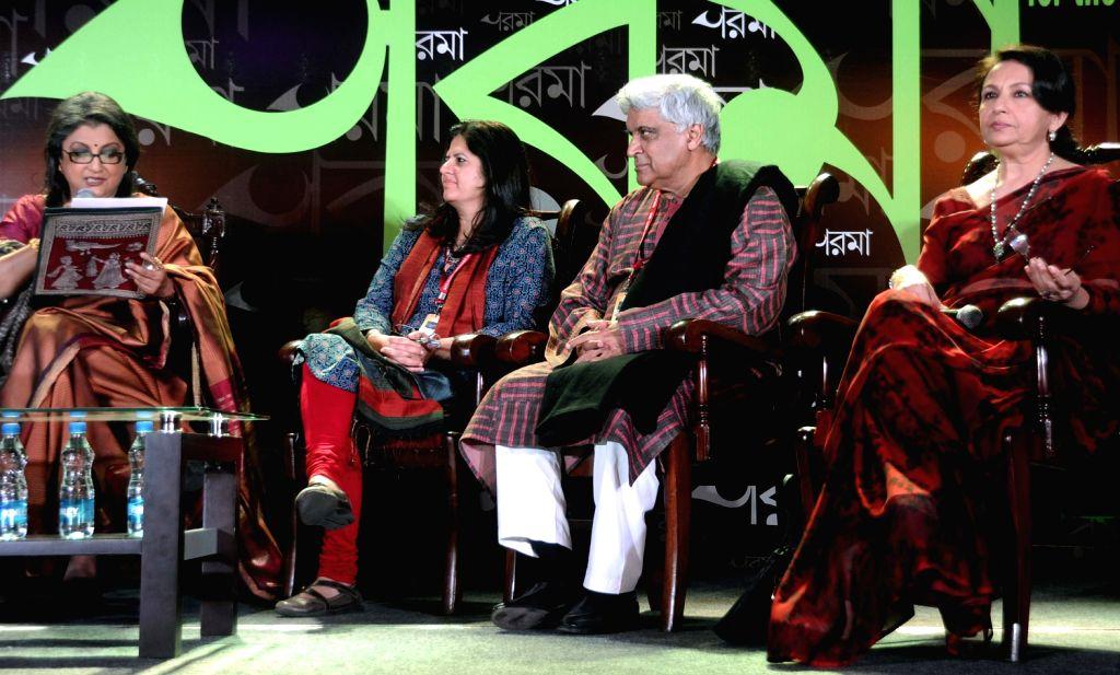 Aparna Sen, Javed Akhtar, Sharmila Tagore (L to R) participate in an interactive session during the Kolkata Literay Meet 2013 at Kolkata International Book Fair in Kolkata on Feb. 1.