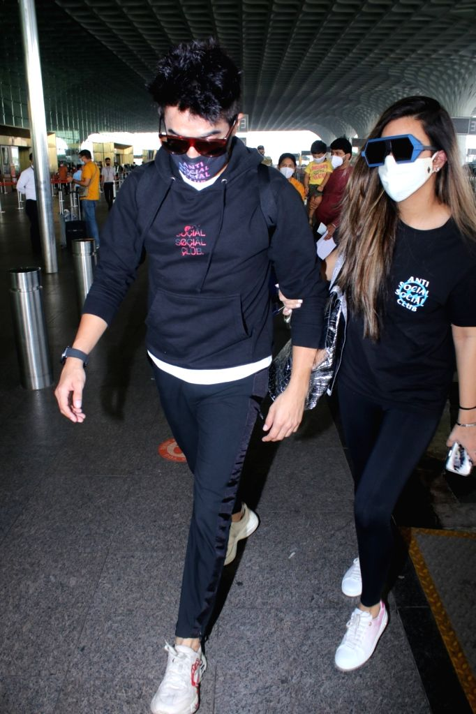 Aparshakti Khurana & His Wife Spotted at Airport Departure on Saturday 06th March, 2021.