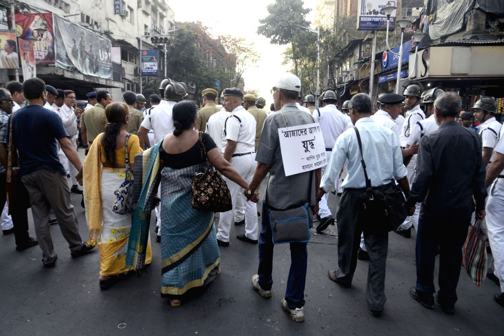 APDR activists stage a demonstration to urge people to say no to war in Kolkata on Feb 20, 2019.