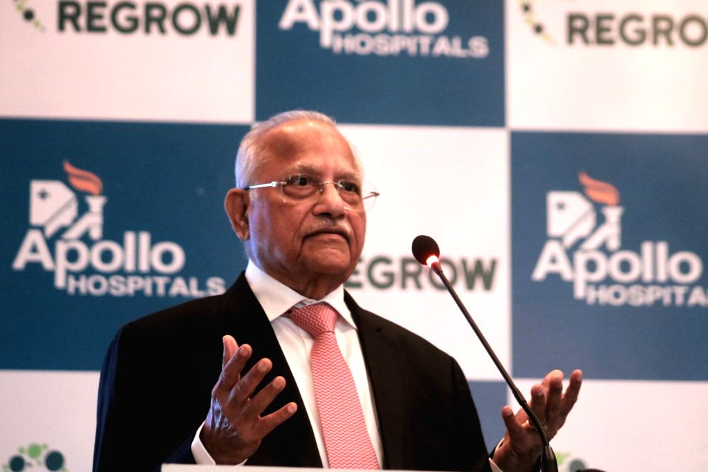 Apollo Hospitals Chairperson Dr Prathap C Reddy during a press conference regarding a revolutionary technology for the treatment of bone and cartilage problems in New Delhi, on June 19, ... - Prathap C Reddy