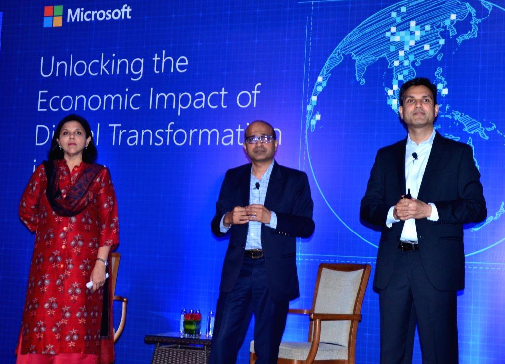 Apollo Hospitals Joint Managing Director Sangita Reddy, Microsoft India MD Anil Bhansali and Microsoft India President Anant Maheshwari during a programme on 'Unlocking the Economic Impact ... - Sangita Reddy