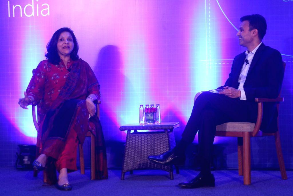 Apollo Hospitals Joint Managing Director Sangita Reddy and Microsoft India President Anant Maheshwari during a programme on 'Unlocking the Economic Impact of Digital Transformation in ... - Sangita Reddy