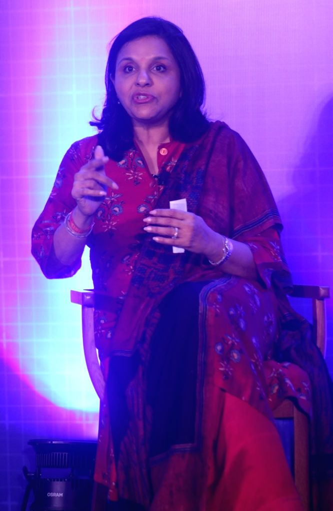 Apollo Hospitals Joint Managing Director Sangita Reddy addresses during a programme on 'Unlocking the Economic Impact of Digital Transformation in India', in New Delhi on April 11, 2018. - Sangita Reddy
