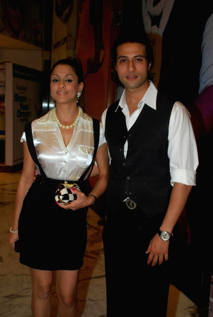 "Apoorva Agnihotri with his Shilpa Saklani at the ""Aloo Chat"" film premiere."