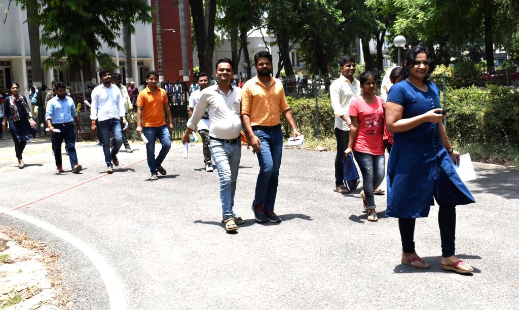 Applicants seen leaving after appearing Union Public Service Commission (UPPSC) examination 2019, in Allahabad, on June 2, 2019.