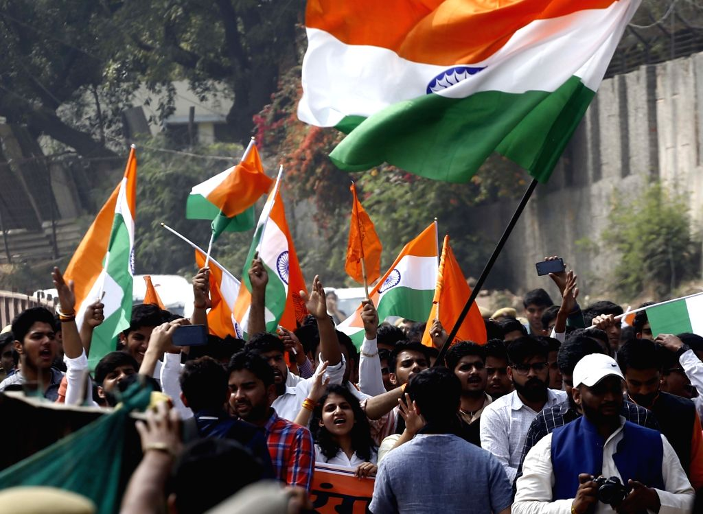 APVP members participate in Tiranga March at south campus of Delhi University in New Delhi on March 1, 2017.