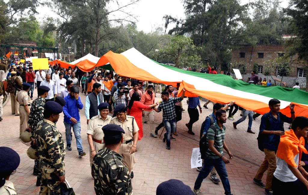 APVP members participate in Tiranga March at Delhi University campus in New Delhi on March 2, 2017.