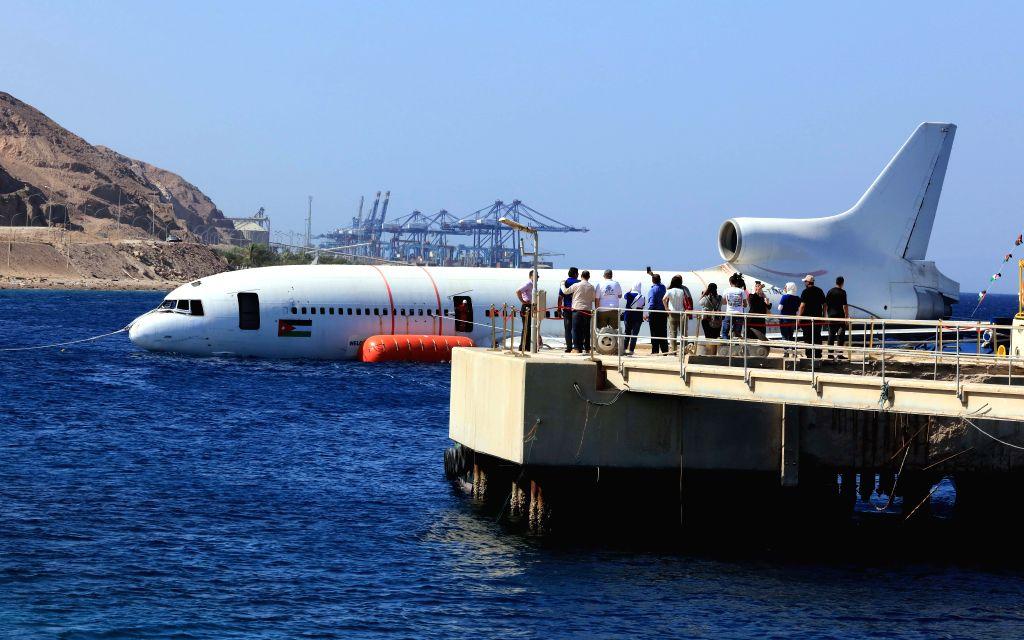 AQABA (JORDAN), Aug. 26, 2019 A Lockheed L-1011 Tristar plane is submerged in the Red Sea in Aqaba, Jordan, on Aug. 26, 2019. The Aqaba Special Economic Zone Authority (ASEZA) in Jordan ...