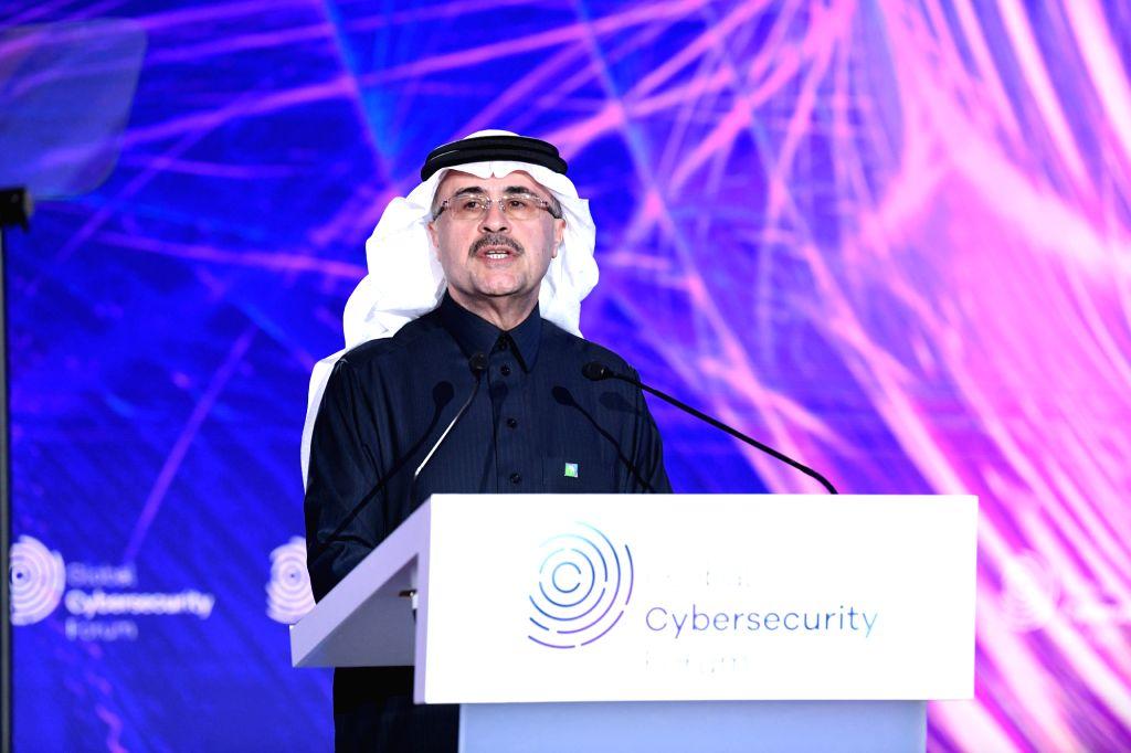 Aramco President and CEO Amin Nasser speaks at the Global Cybersecurity Forum in Riyadh, Saudi Arabia, Feb. 4, 2020. Saudi Arabia's oil giant Aramco on Tuesday ...
