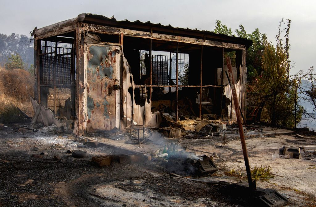 ARARA (ISRAEL), July 17, 2019 A burnt house is seen following a wildfire in the Arab town of Arara in northern Israel, on July 17, 2019. Wildfires broke out at several locations across ...