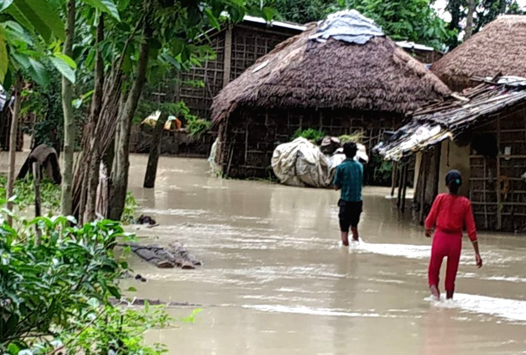 Araria: A view of the flood affected Forbesganj in Bihar's Araria district on July 13, 2019. (Photo: IANS)