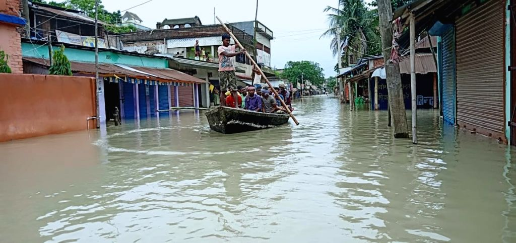 Araria: One of the boats pressed into service for relief and rescue operations in Bihar's flood affected Araria, on July 13, 2019. (Photo: IANS)