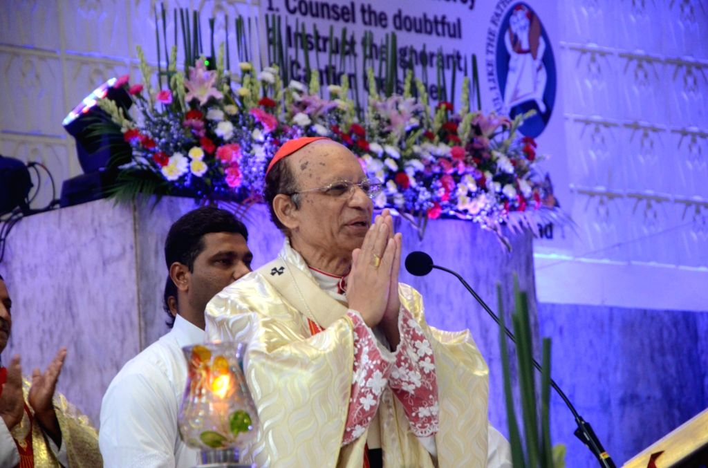 Archbishop of Bombay Cardinal Oswald Gracias addresses at a programme organised to release a DVD on our Lady of Perpetual Succour as part of the worldwide 150th jubilee celebration of the ...
