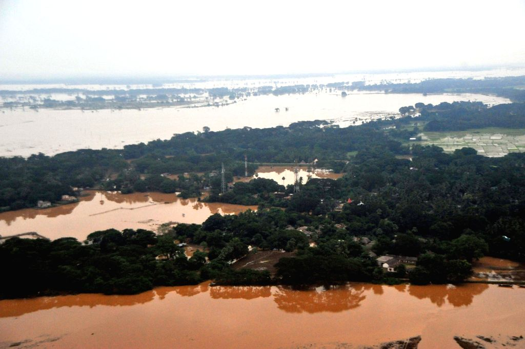 Areal view of Brahmani river flooded many villages of Kendrapada district on Aug 9, 2014.