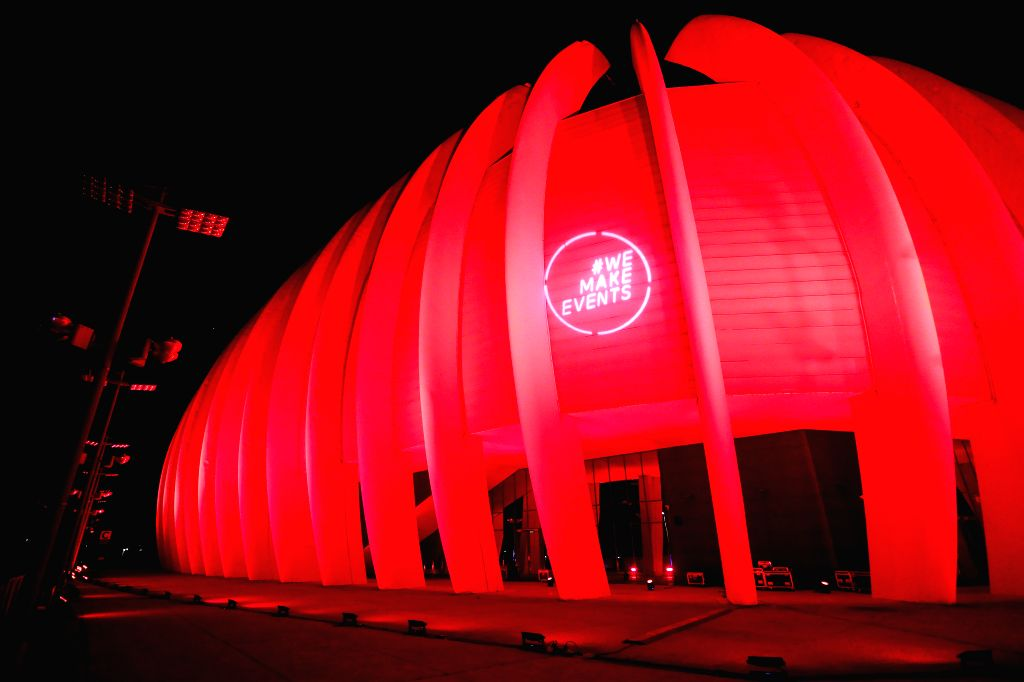"Arena Zagreb stadium is lit in red on the occasion of the global ""Red Alert"" initiative in Zagreb, Croatia, on Sept. 1, 2020. The initiative was launched ..."