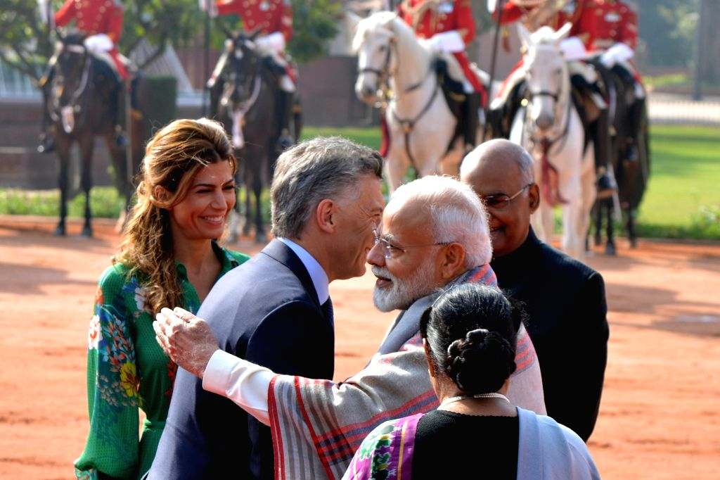 Argentina President Mauricio Macri and first lady Juliana Awada meet Prime Minister Narendra Modi during his ceremonial welcome in New Delhi, on Feb 18, 2019. - Narendra Modi