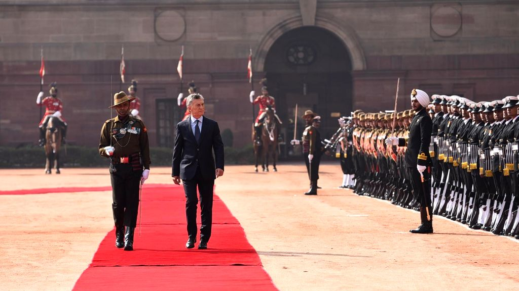 Argentina President Mauricio Macri inspects the Guard of Honour during a ceremonial reception organised for him at Rashtrapati Bhawan in New Delhi, on Feb 18, 2019.