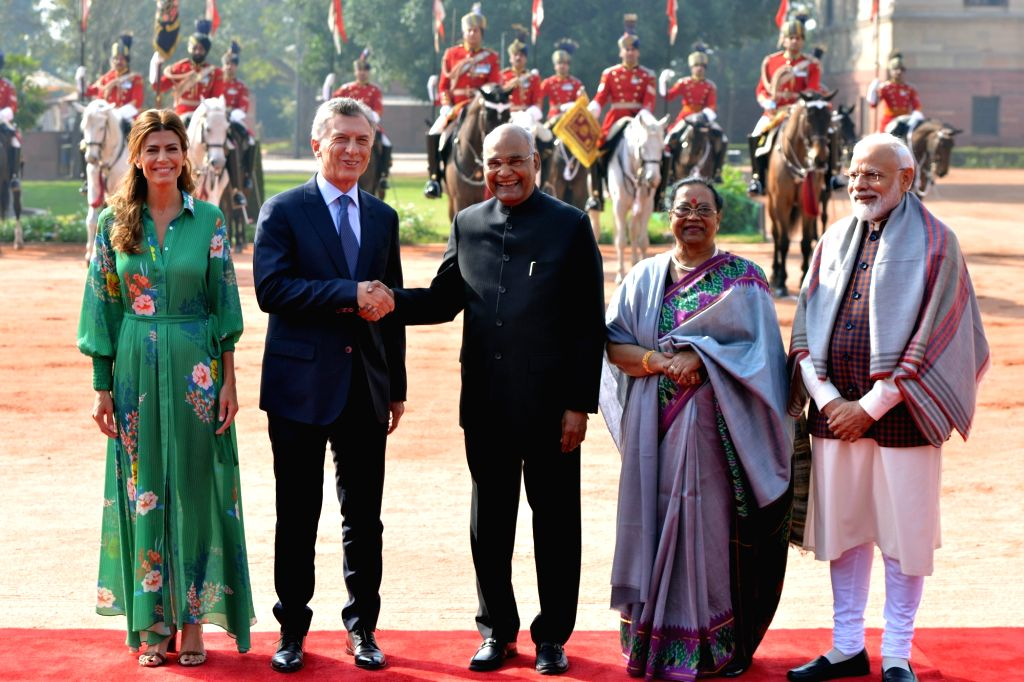 Argentina President Mauricio Macri meets President Ram Nath Kovind and Prime Minister Narendra Modi during his ceremonial welcome in New Delhi, on Feb 18, 2019. Also seen President's wife ... - Narendra Modi and Nath Kovind