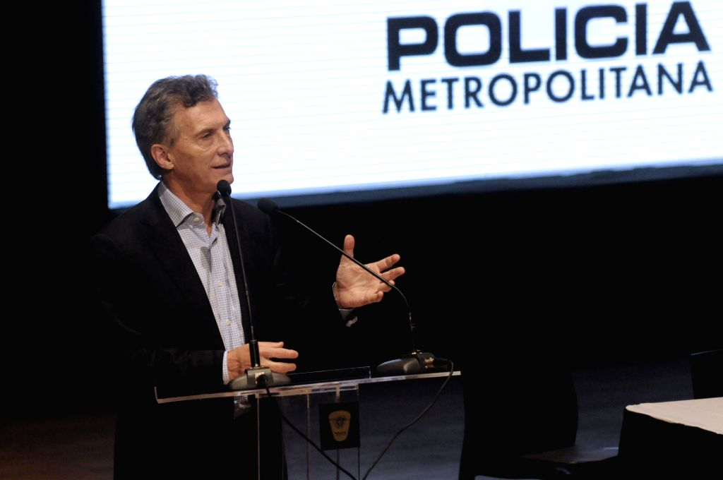 Argentina's presidential candidate Mauricio Macri of the conservative Cambiemos, delivers a speech during the celebration of the 7th anniversary of the ...