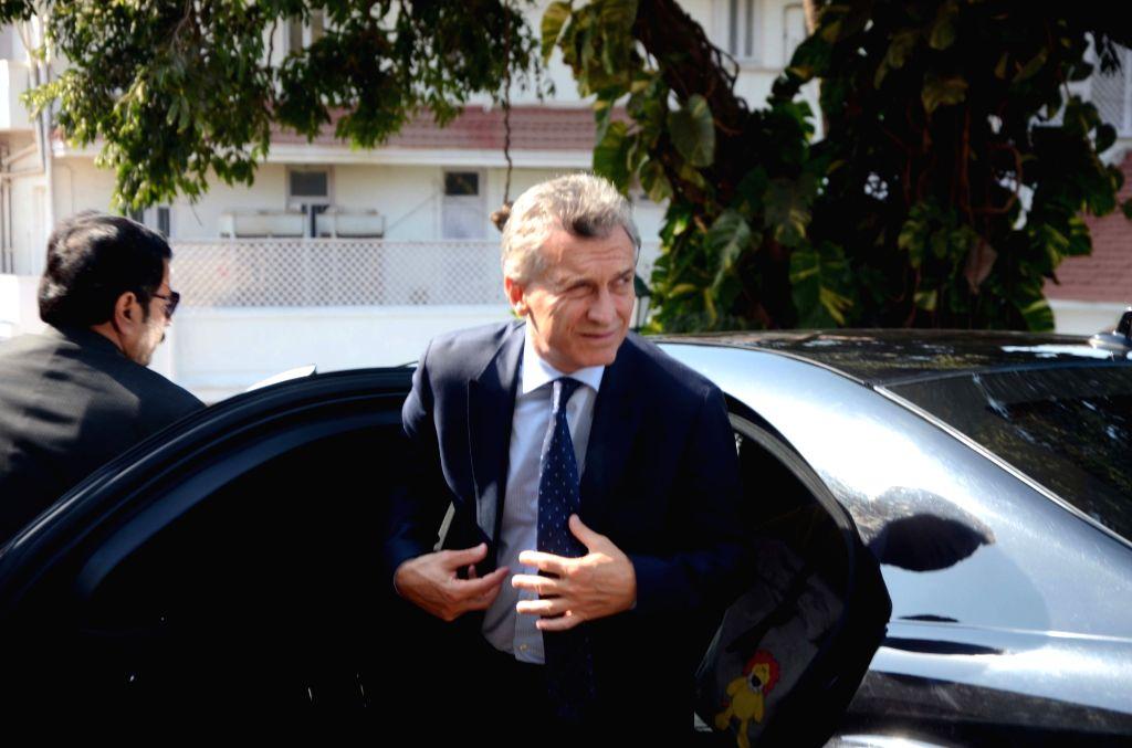 Argentine President Mauricio Macri arrives at Raj Bhavan in Mumbai, on Feb 19, 2019.