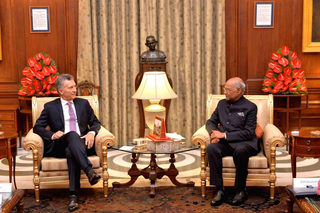 Argentine President Mauricio Macri meets President Ram Nath Kovind at at Rashtrapati Bhavan New Delhi on Feb 18, 2019. - Nath Kovind